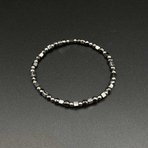 Bracciale elastico da uomo in ematite e argento BR0921