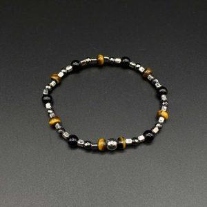 Bracciale elastico da uomo in occhio di tigre, agata nera, ematite e argento BR0721
